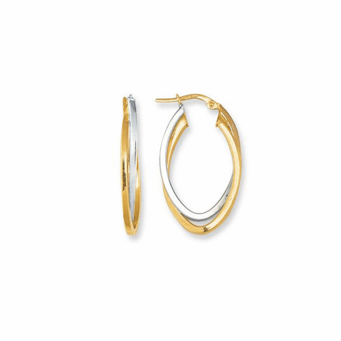 14K Yellow / White Gold Oval Shape Two Tone Double Row Hoop Earring