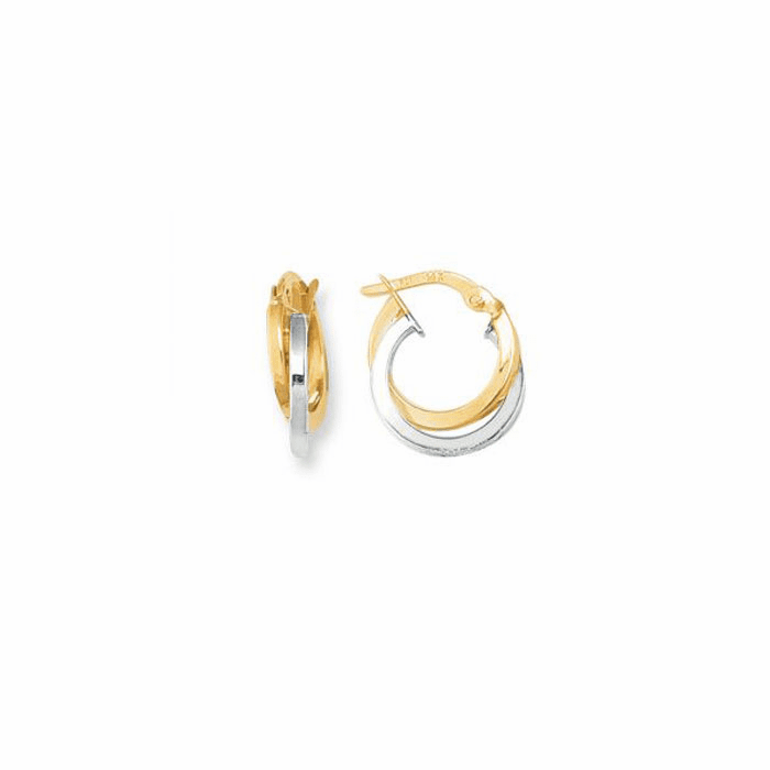 14K Yellow/White Gold Round Shape Double Row Hoop Earring - ER861