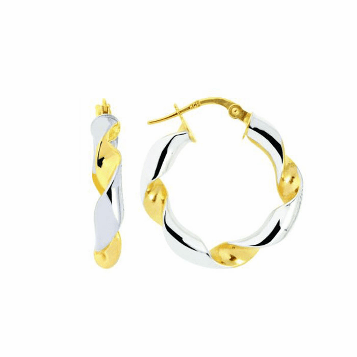 14K Yellow / White Gold Round Two Tone Twisted Small Hoop Earring