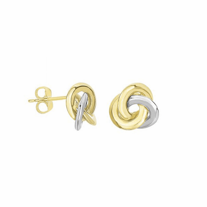 14K Yellow / White Gold Shiny 11.1mm 3 Row Loveknot Style Post Earring