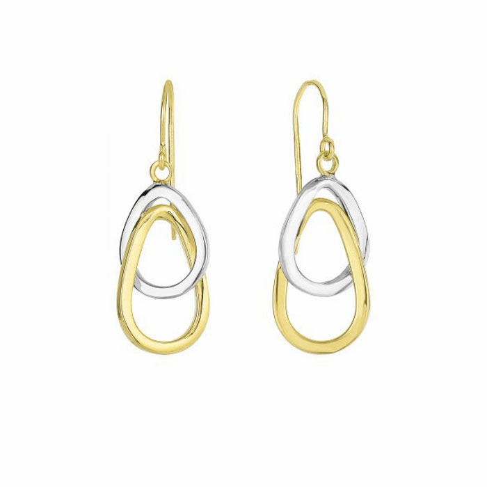 14K Yellow / White Gold Shiny 2-Interconnected Open Tear Drop Earring