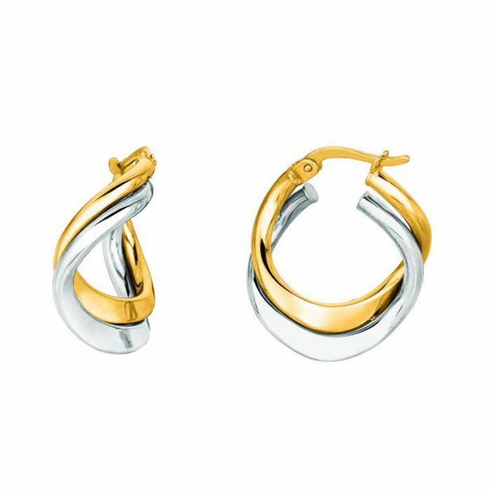 14K Yellow / White Gold Shiny Double Row Hoop Earring