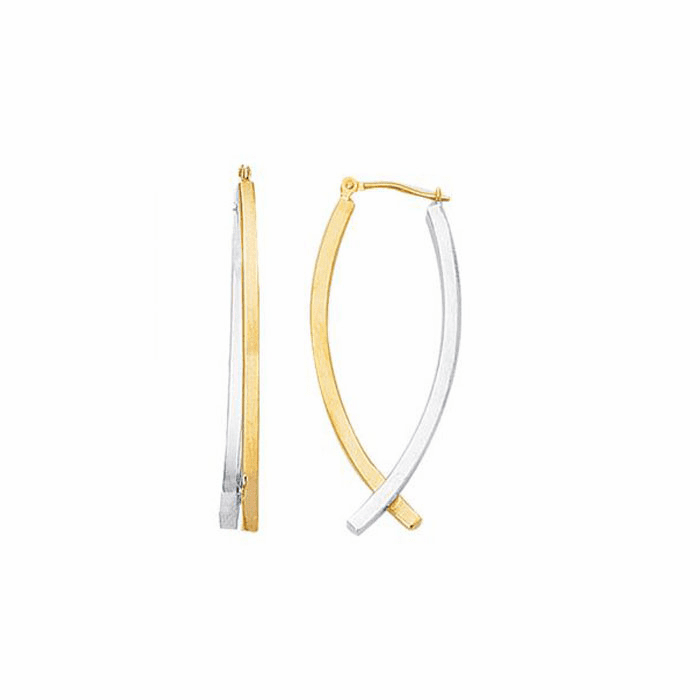 14K Yellow / White Gold Shiny Square Tube Double Row Hoop Type Earring