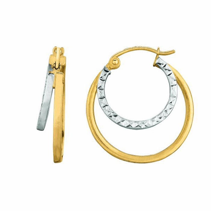14K Yellow / White Gold Shiny Textured Double Row Round Hoop Earring