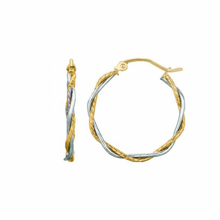 14K Yellow / White Gold Shiny Textured Twisted Hoop Earring