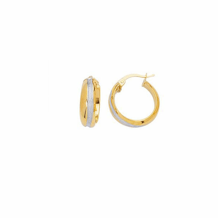 14K Yellow / White Gold Shiny Textured Two Tone Round Hoop Earring