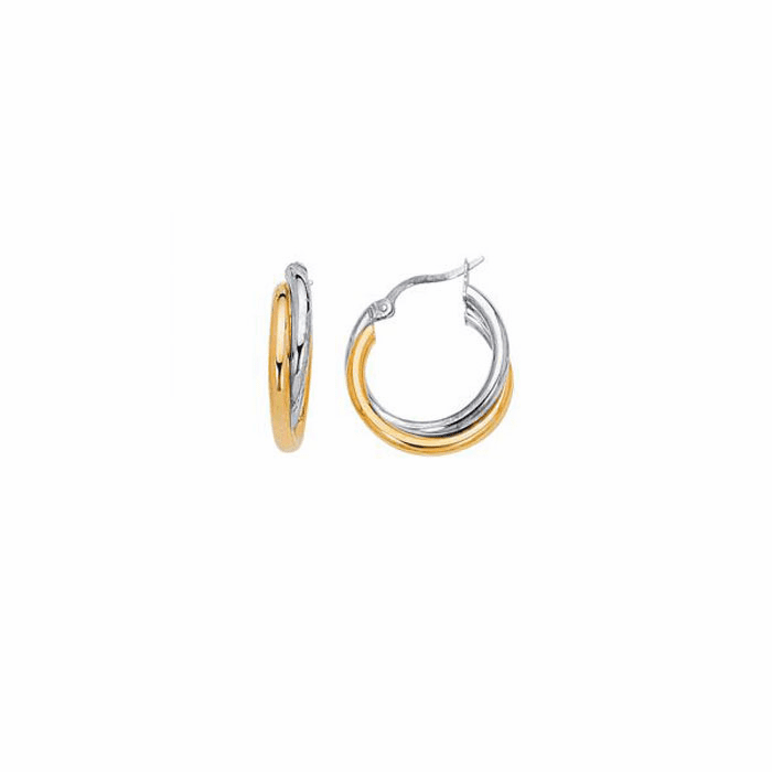 14K Yellow / White Gold Shiny Two Tone Double Hoop Earring