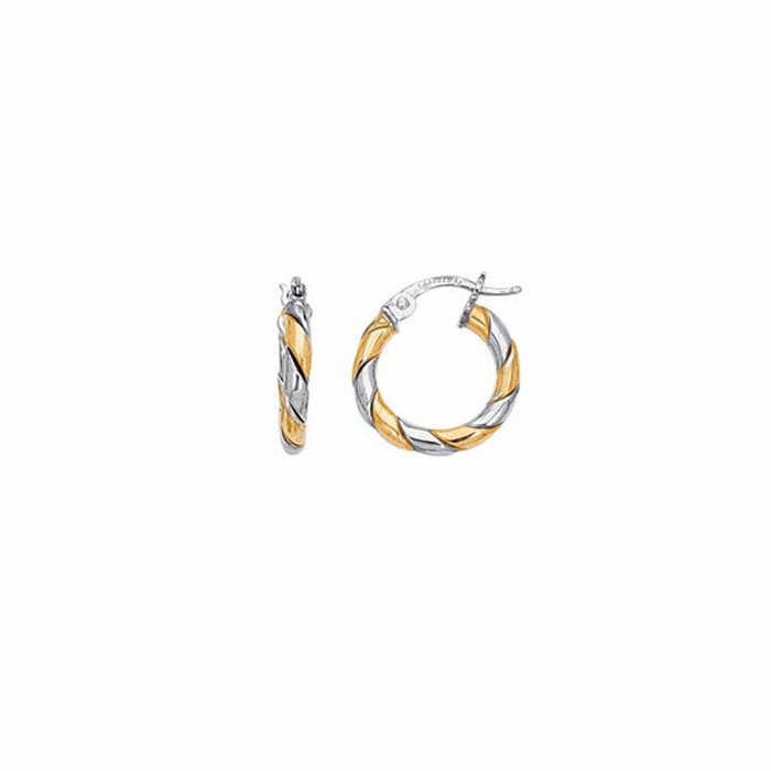 14K Yellow / White Gold Shiny Two Tone Small Twisted Hoop Earring