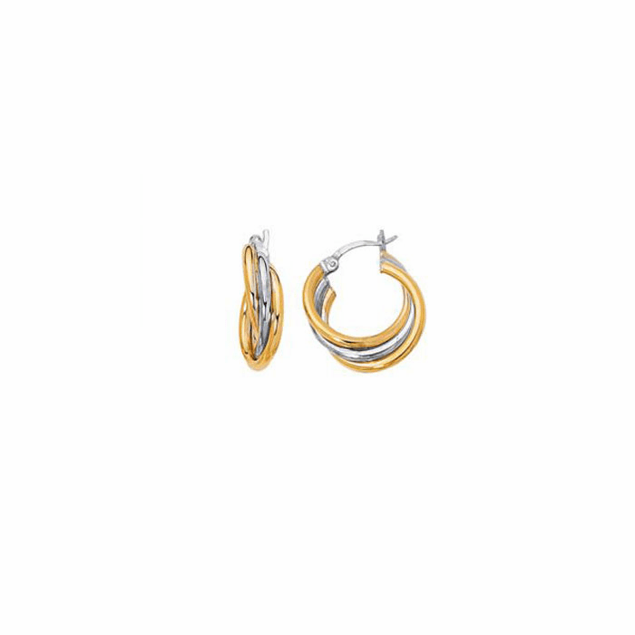 14K Yellow / White Gold Shiny Two Tone Triple Row Hoop Earring