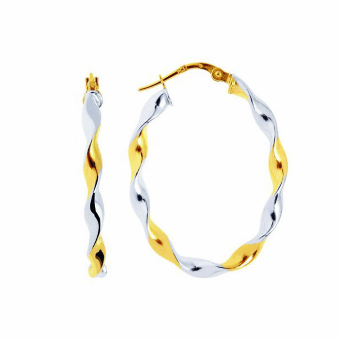 14K Yellow / White Gold Shiny Two Tone Twisted Large Oval Hoop Earring