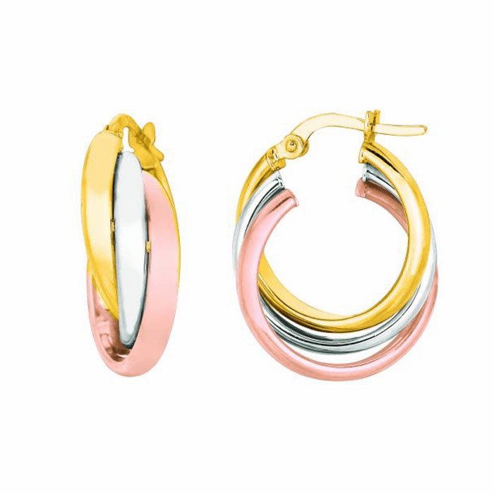 14K Yellow / White / Rose Gold Shiny Triple Row Hoop Earring