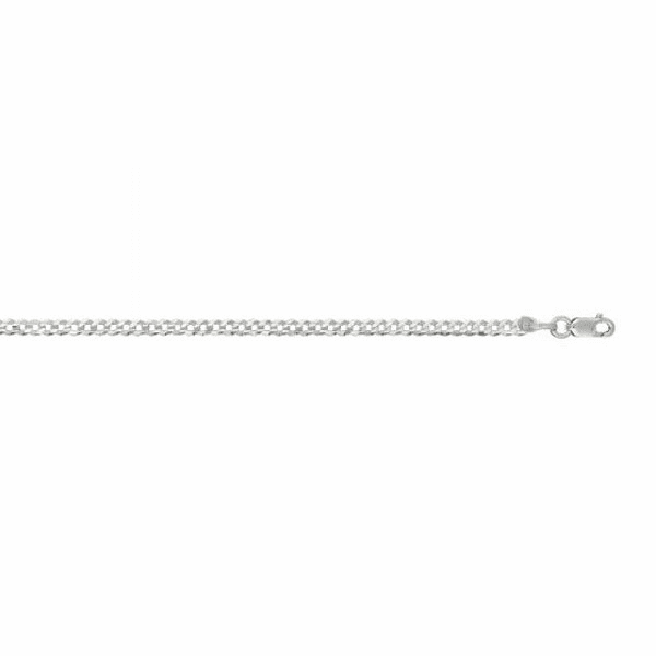 "14kt 10"" White Gold 2.6mm Diamond Cut Comfort Curb Chain"