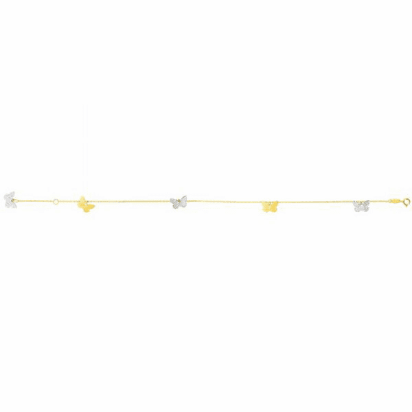 "14kt 10"" Yellow/White Gold 1-7mm Shiny/Diamond Cut Fancy Anklet"