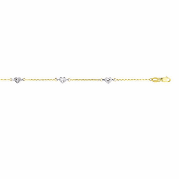 "14kt 10"" Yellow/White Gold Diamond Cut Cable Chain/White Heart Anklet"