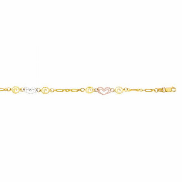 "14kt 10"" Yellow/White/Rose Gold Fancy Tri-Color Anklet/Heart/Swirl"