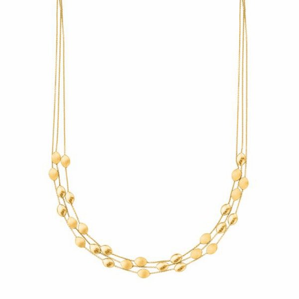 """14kt 17"""" Yellow Gold 3 Strand Cable Chain Link Pebble Fancy Necklace"""