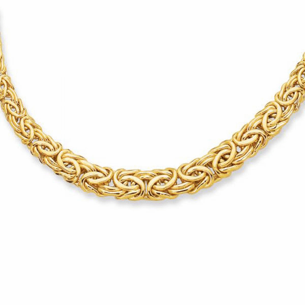 """14kt 17"""" Yellow Gold 6.0-11.0mm Graduated Byzantine Fancy Necklace"""