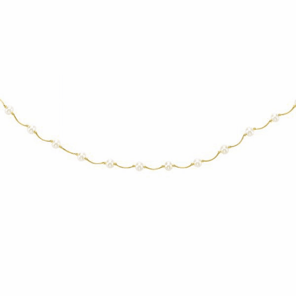 """14kt 17"""" Yellow Gold 6-6.5mm White Pearl Tin Cup Necklace"""