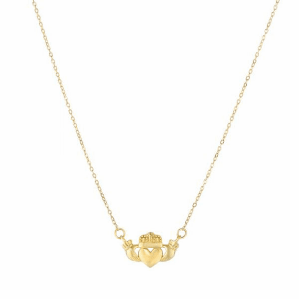 """14kt 17"""" Yellow Gold Claddagh Center Element Anchored to Link Chain"""