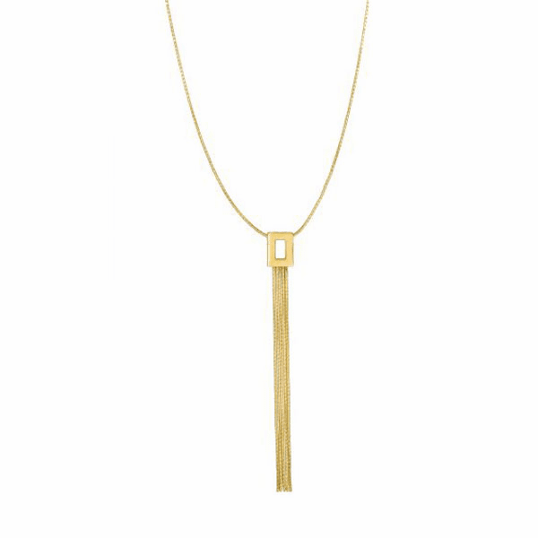 """14kt 17"""" Yellow Gold Lariat Style Necklace - NCK1994"""