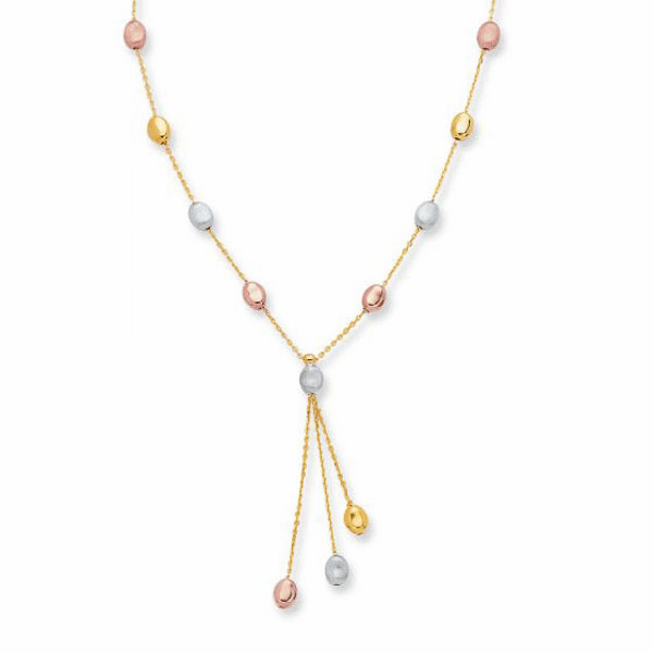 """14kt 17"""" Yellow/White/Rose Gold Chain Link with Pebble Fancy Necklace"""