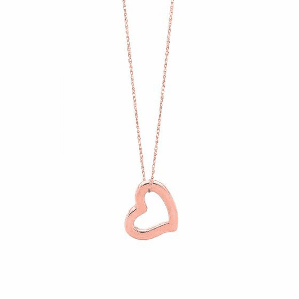 """14kt 18"""" Rose Gold Shiny Cable Link Chain + Open Heart Pend Ant"""