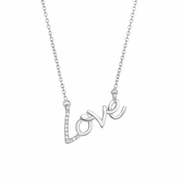"""14kt 18"""" White Gold LOVE Necklace with 0.07ct.Diamond & Lobster Clasp"""