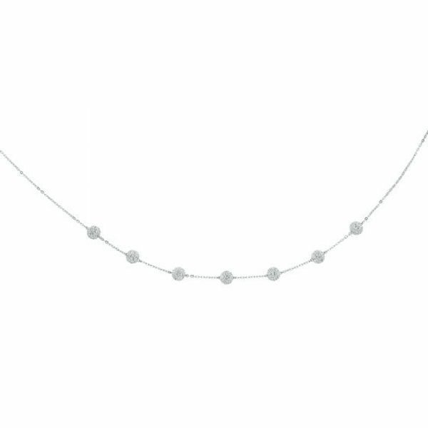 """14kt 18"""" White Gold Shiny Cable Chain Link White Crystal Ball Necklace"""