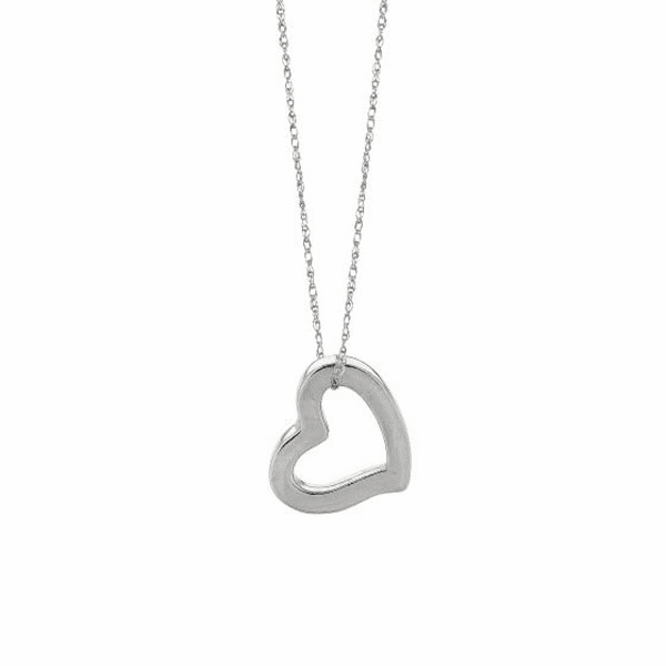 """14kt 18"""" White Gold Shiny Cable Link Chain + Open Heart Pendant"""