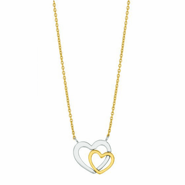 """14kt 18"""" Yellow Gold LCAB030 Cable Chain + Open Heart 2 Tone Pendant"""