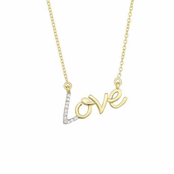 """14kt 18"""" Yellow Gold LOVE Necklace with 0.07ct.Diamond & Lobster Clasp"""