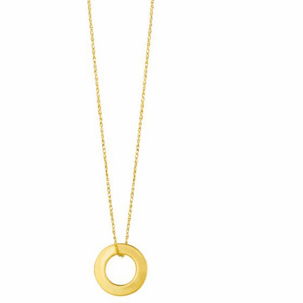 """14kt 18"""" Yellow Gold Shiny Cable Link Chain + Open Circle Pendant"""