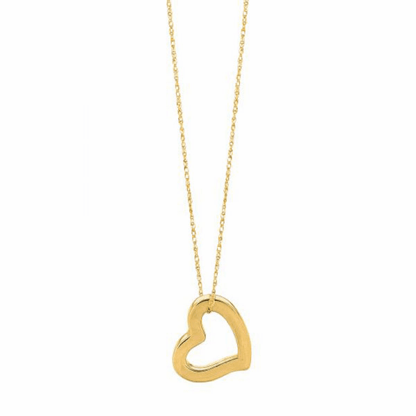 """14kt 18"""" Yellow Gold Shiny Cable Link Chain + Open Heart Pendant"""