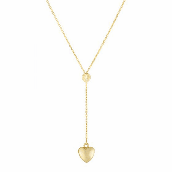 """14kt 18"""" Yellow Gold Shiny Heart Drop on Link Necklace"""