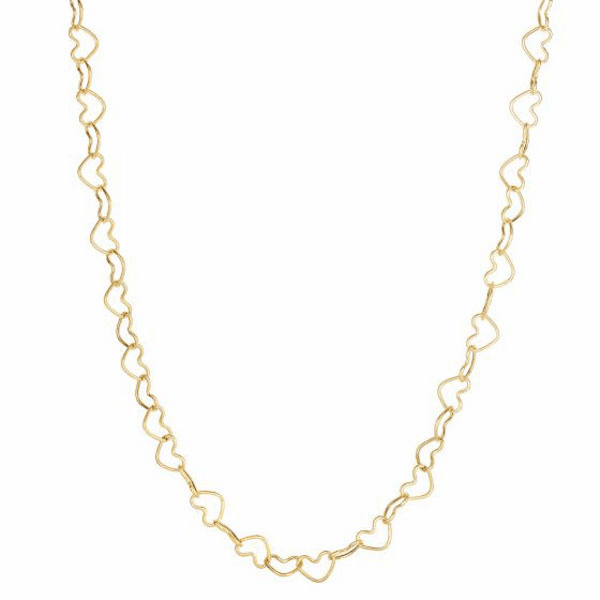 """14kt 18"""" Yellow Gold Shiny Open Heart Link Necklace with Lobster Clasp"""