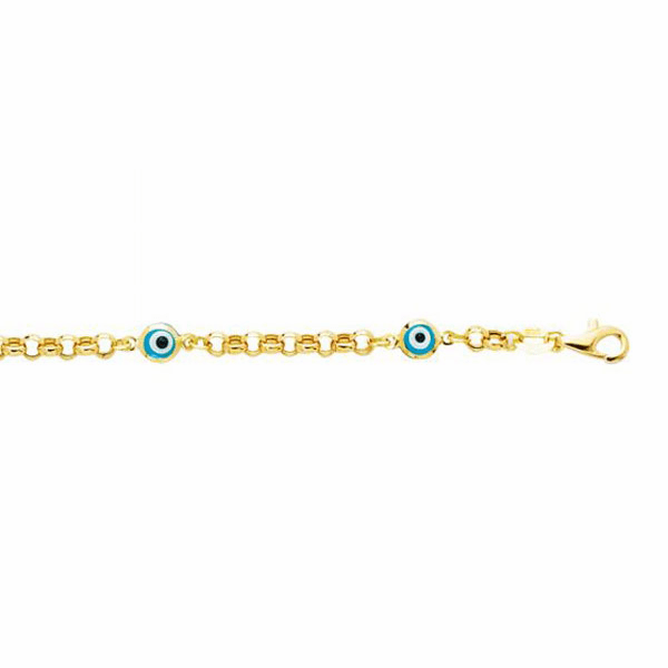 "14kt 5.5"" Yellow Gold Rolo Link Chain/Station Evil Eye Bracelet"