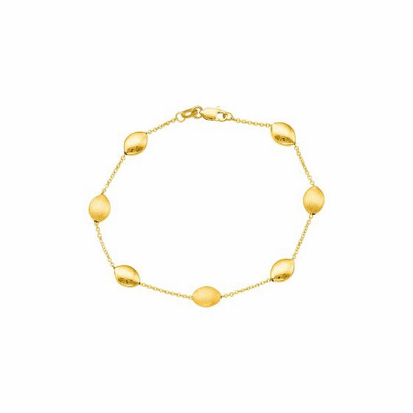 "14kt 7.25"" Yellow Gold Cable Link with Textured Pebble Bracelet"