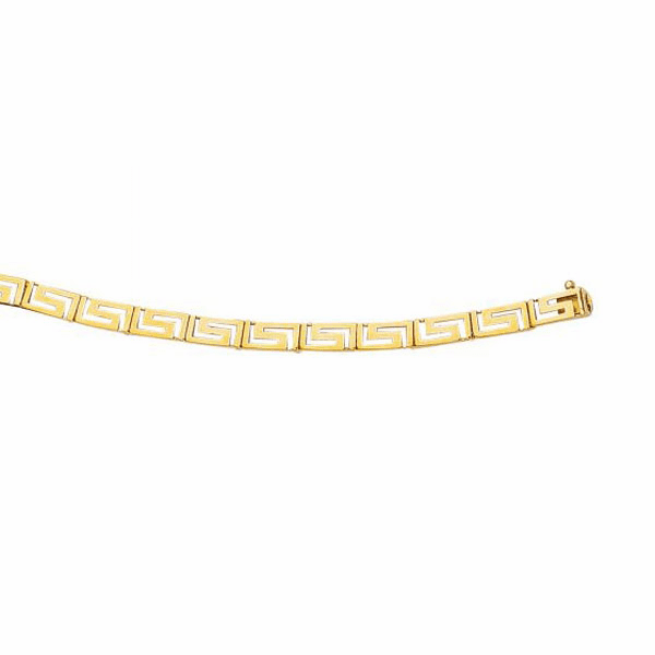 "14kt 7.25"" Yellow Gold Shiny Graduated Greek Key Fancy Bracelet - GK6"