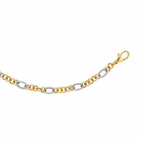 """14kt 7.25"""" Yellow/White Gold Euro Link Bracelet with Pear Shape Clasp"""