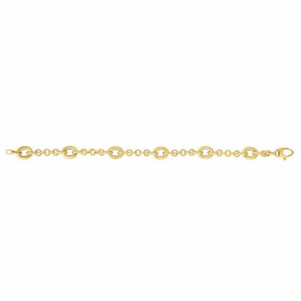 "14kt 7.5"" Yellow Gold 4/1 Shiny Round Link/Oval Link Bracelet"