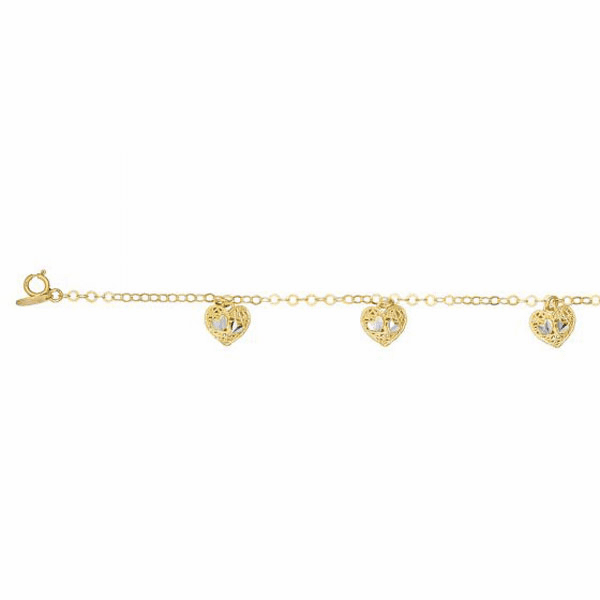 "14kt 7.5"" Yellow Gold 5 Stationed Heart Element on Link Bracelet"