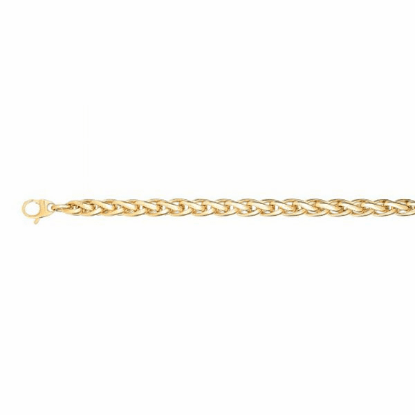 "14kt 7.5"" Yellow Gold 6.5mm Shiny Round Wheat Type Link Fancy Bracelet"