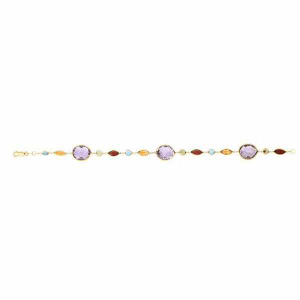 "14kt 7.5"" Yellow Gold Round/Tear Drop Amethyst Stations Cable Bracelet"
