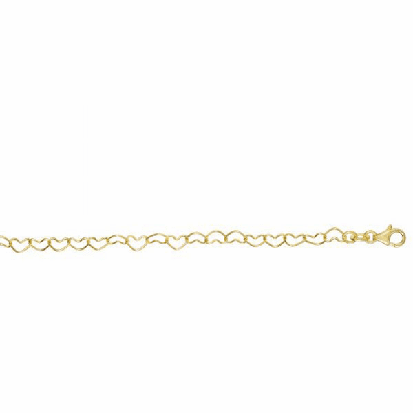 "14kt 7.5"" Yellow Gold Shiny Open Heart Link Bracelet w/Lobster Clasp"