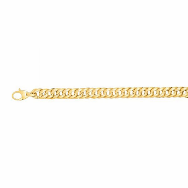"14kt 7.5"" Yellow Gold Twisted Oval Miami Cuban Link Type Bracelet"