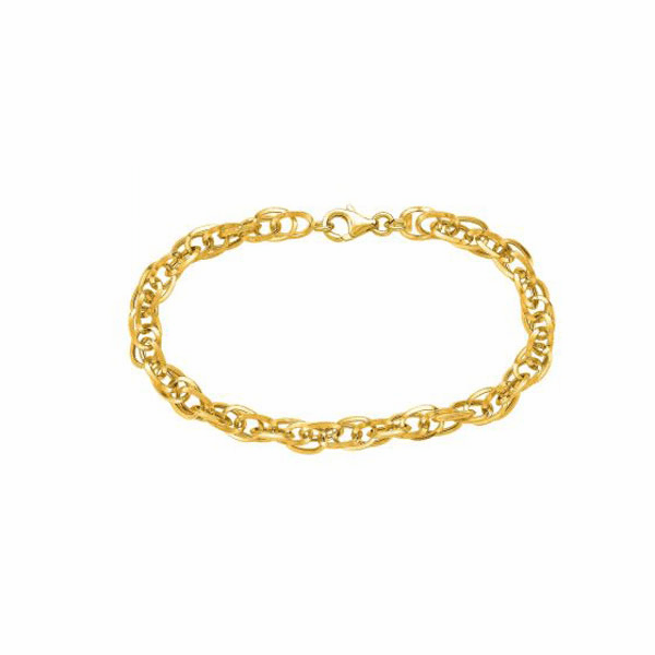 "14kt 7.50"" Yellow/White Gold Euro Link Bracelet with Spring Ring Clasp"