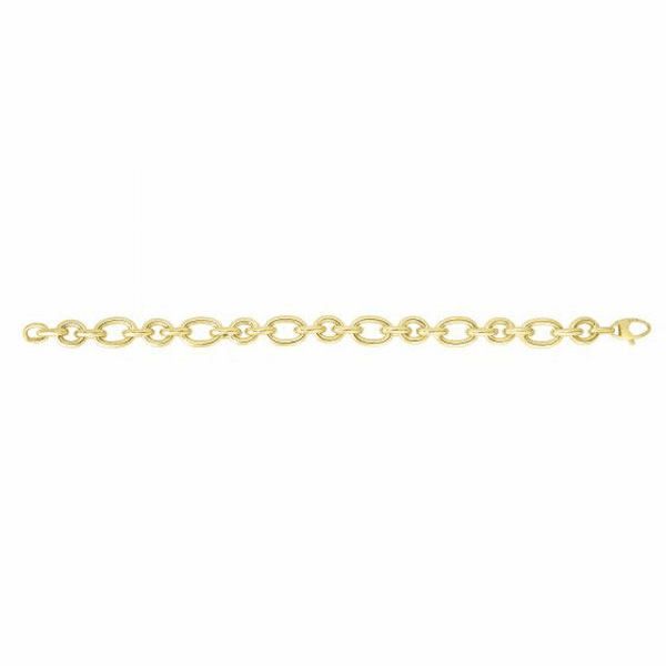 "14kt 7.75"" Yellow Gold 9.4mm Shiny Oval Link Fancy Bracelet"