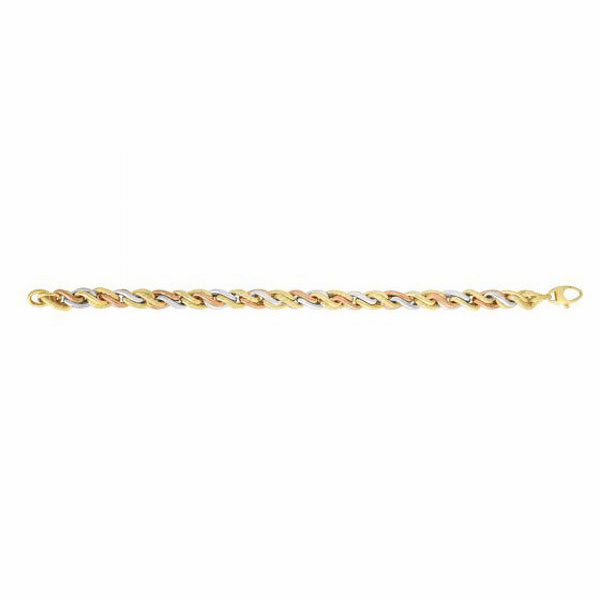 "14kt 7.75"" Yellow/White Gold 7mm Textured Twisted Rope Fancy Bracelet"