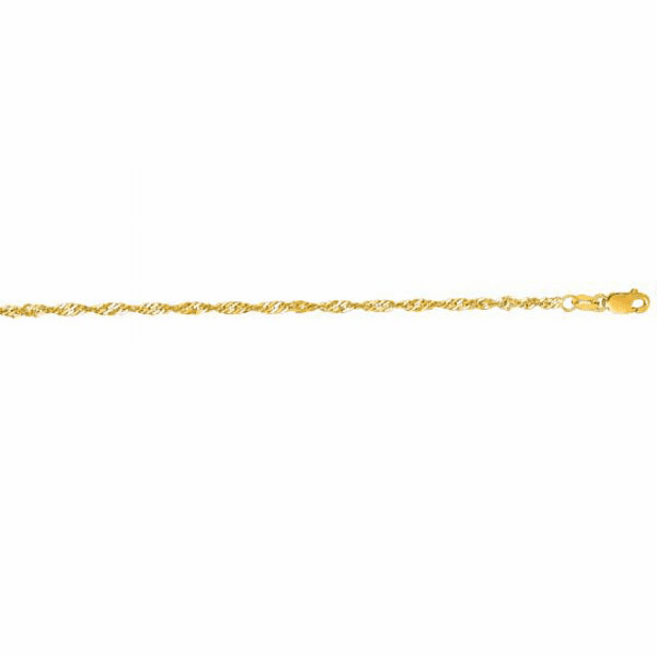 "14kt 7"" Yellow Gold 2.1mm Diamond Cut Singapore Bracelet"