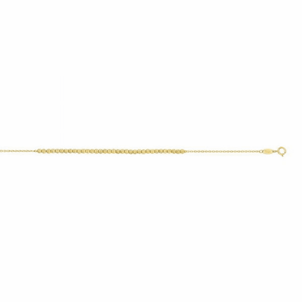 "14kt 7"" Yellow Gold 2.6-1.1mm Diamond Cut Bead On Oval Link Bracelet"